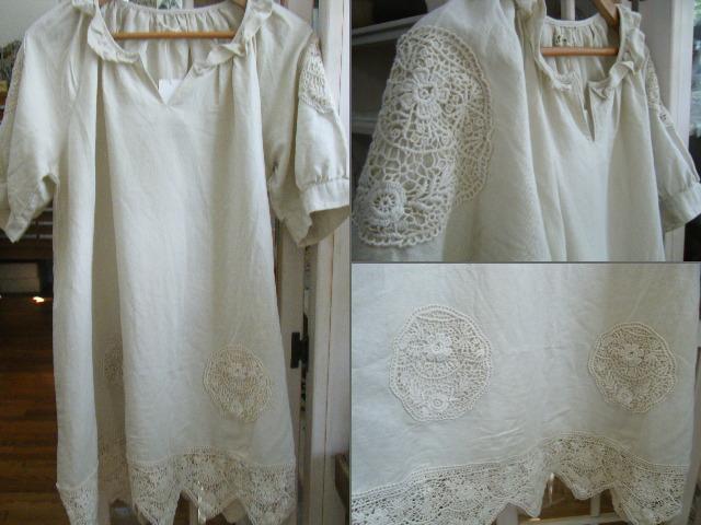 綿麻平織りワンピース