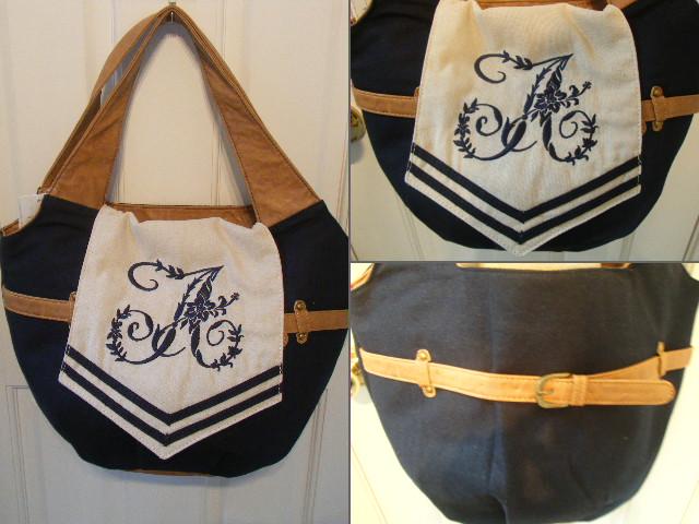 刺繍フラップトートバッグ