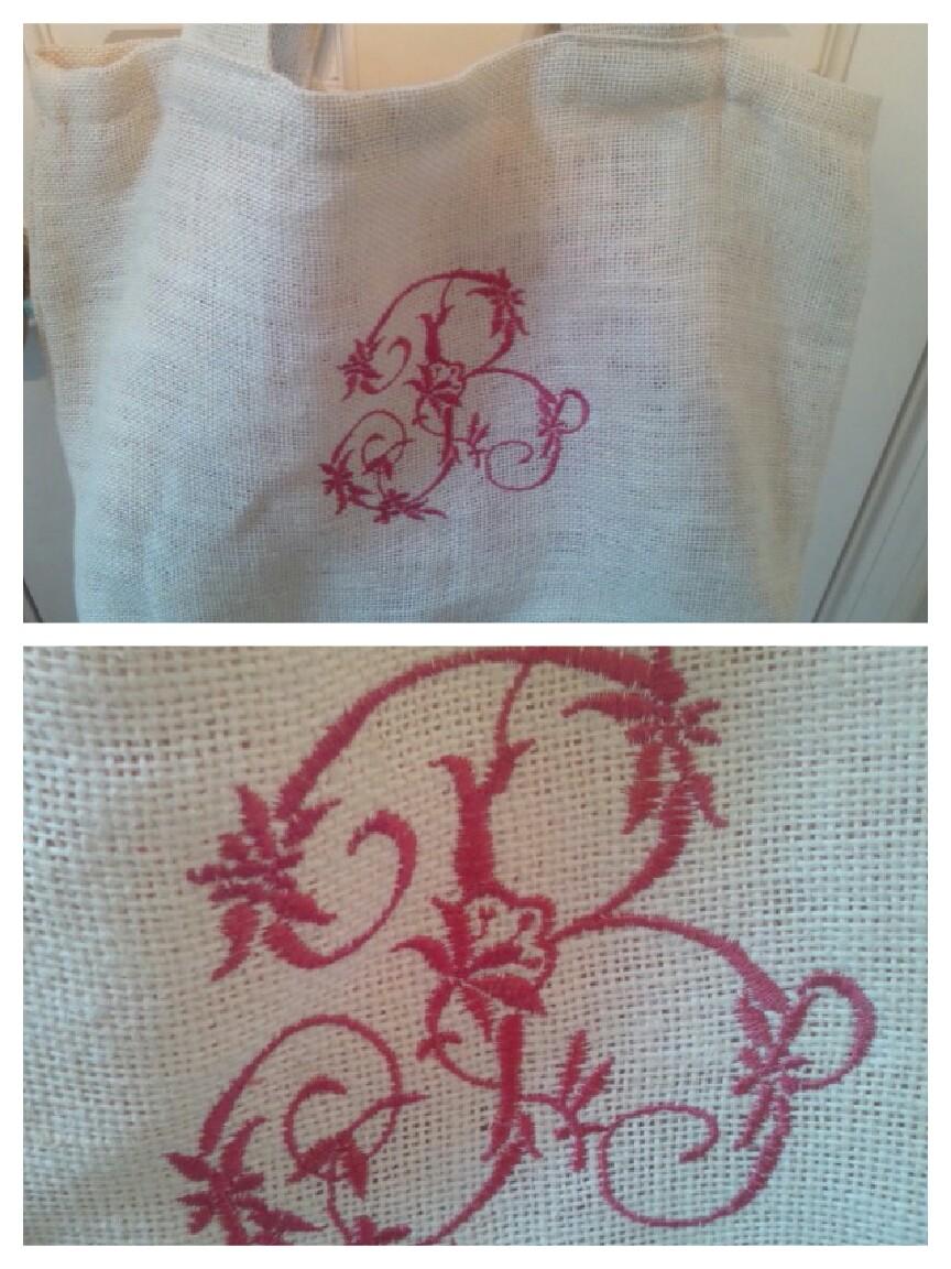 刺繍ジュートバッグ